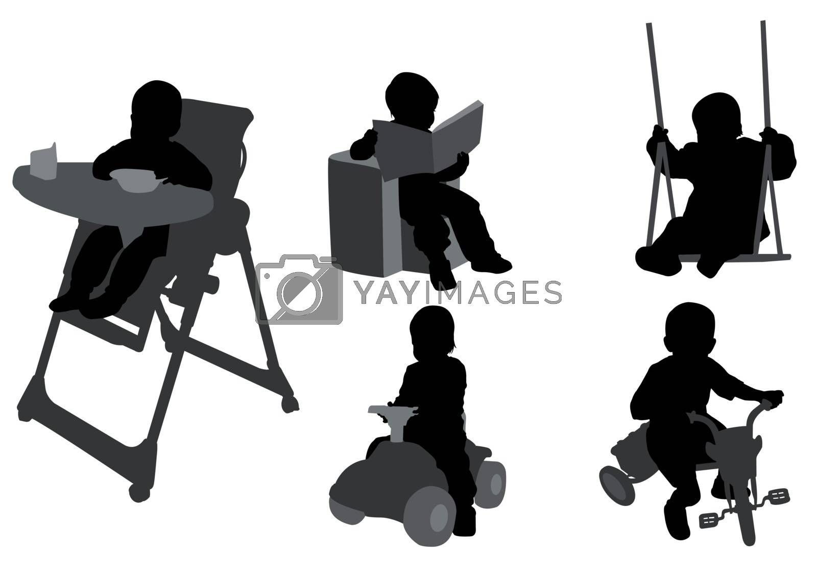 toddlers silhouettes 3 - vector