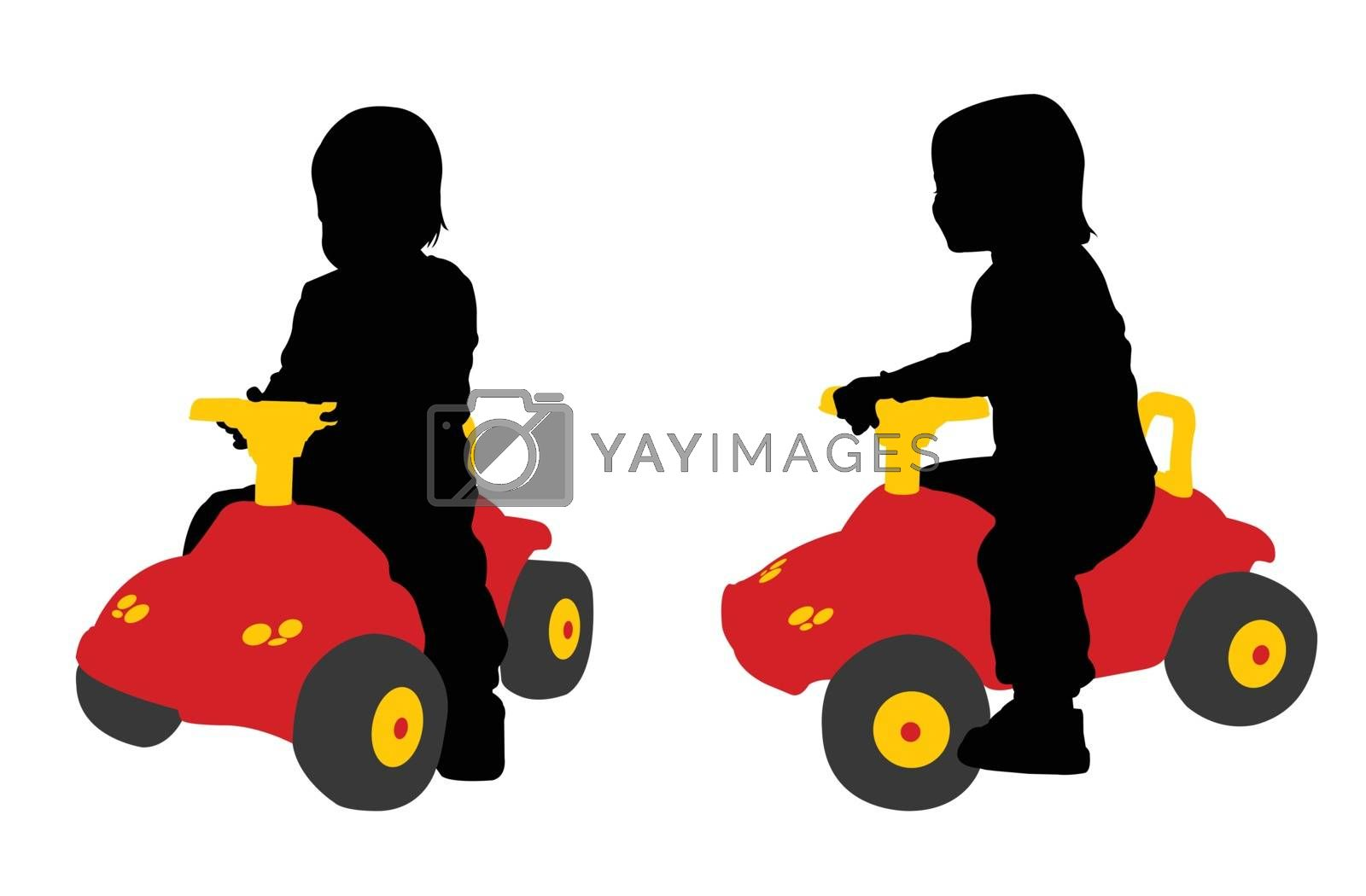 toddler seats on the big car toy - vector