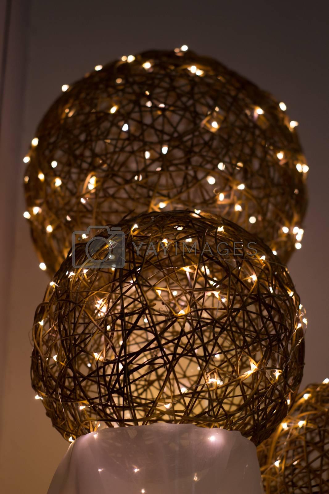 Electric garland, beautiful decorative wire beads as decoration for holiday, electric, electrical, shine, light, glow, world society color shine glow radiate beam glisten wire conductor lamp bulb tube