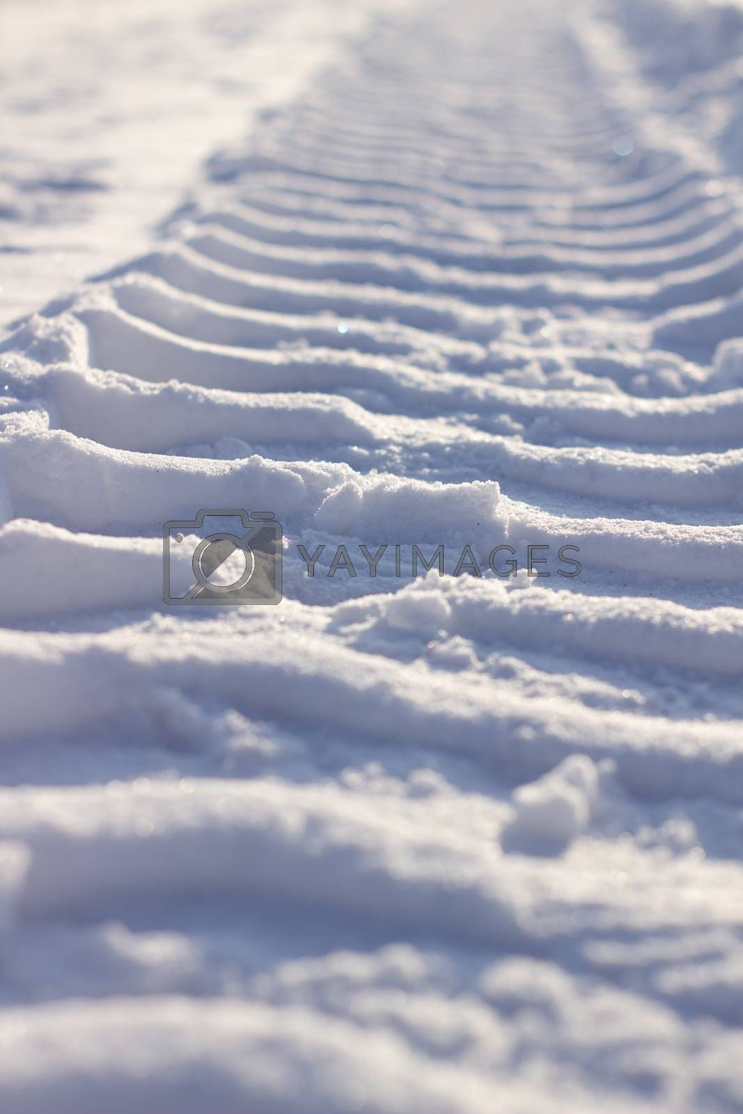 Fresh tracks from the tractor in the snow in winter. Snow clearance