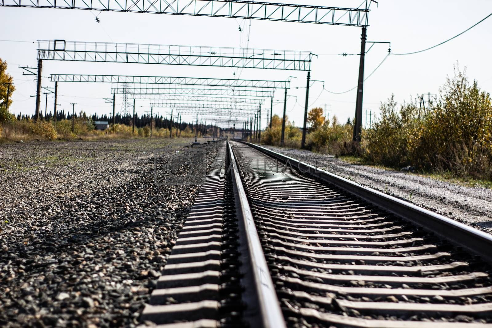The railroad track closeup. The transport train.