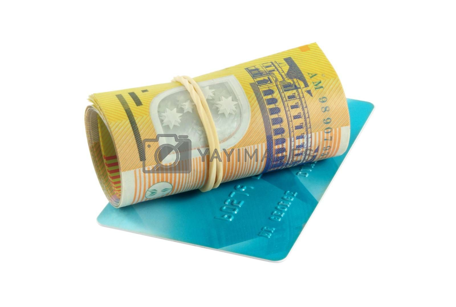 australian money and credit card isolated on white