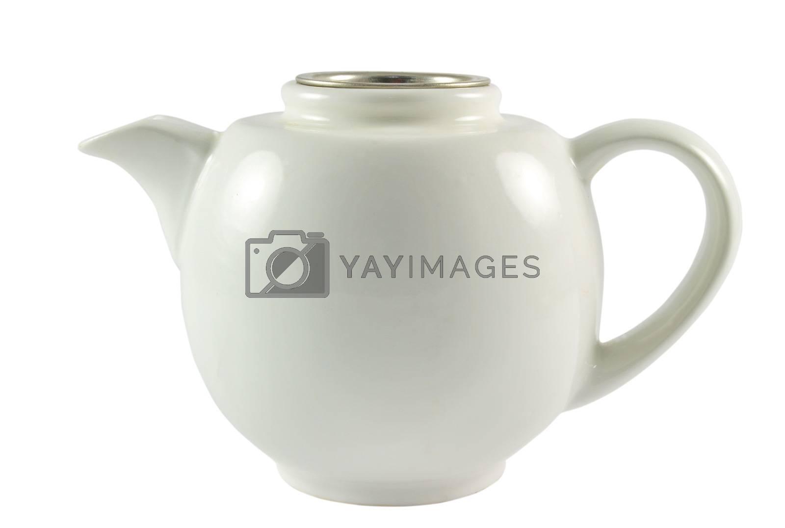 white old tea kettle over white