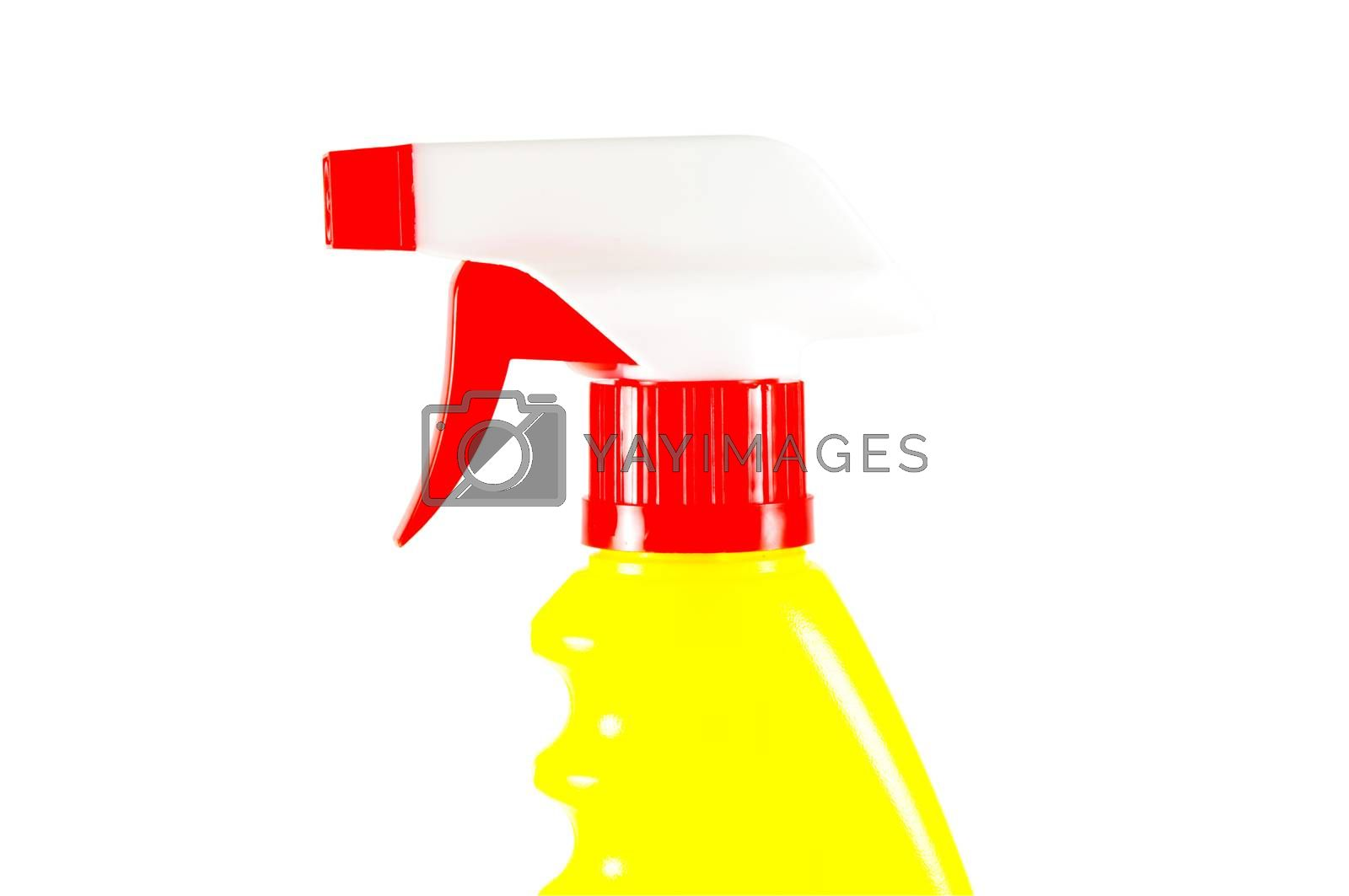 Colorful spray bottle on isolated surface
