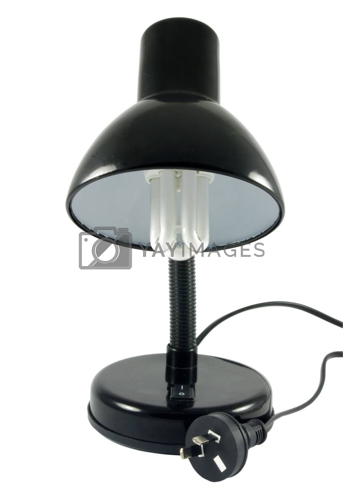 Black lamp with economic bulb over white surface