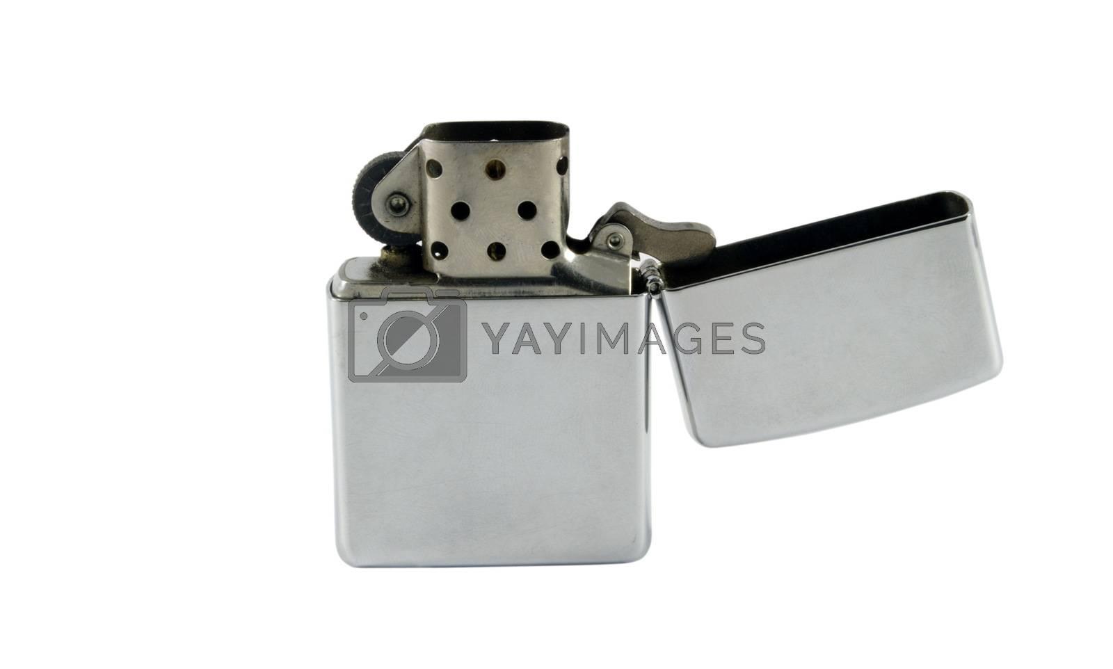 silver metallic popular lighter isolated over white