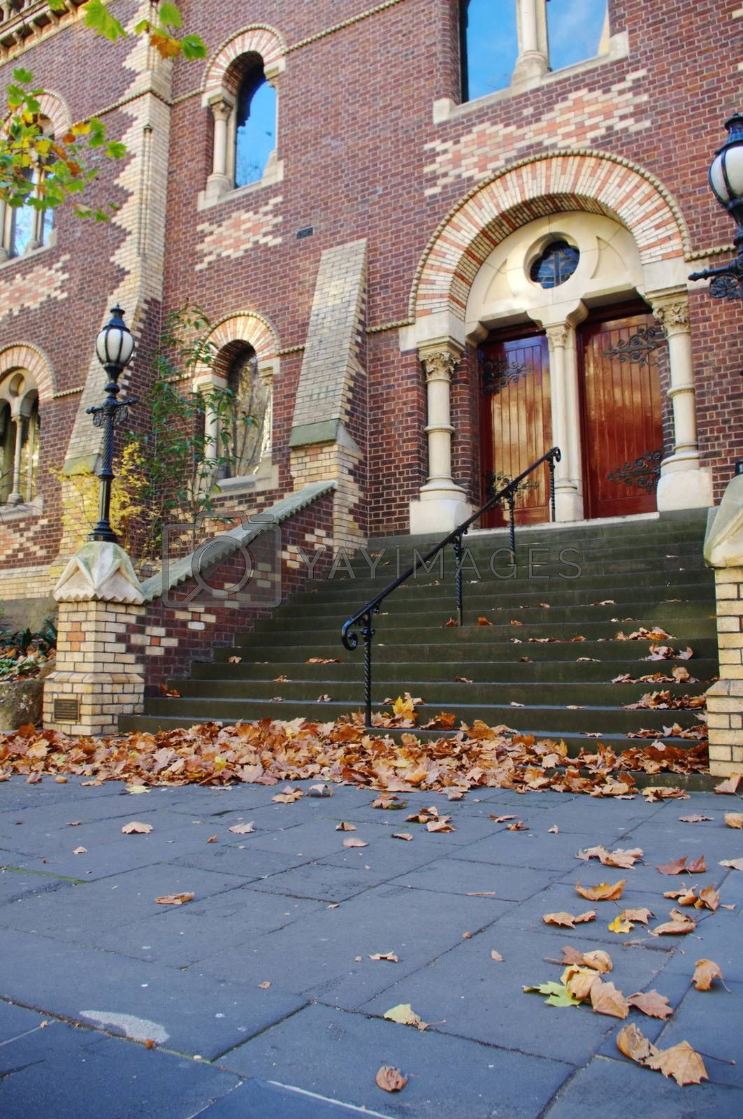 Church building with autumn leaves in Melbourne