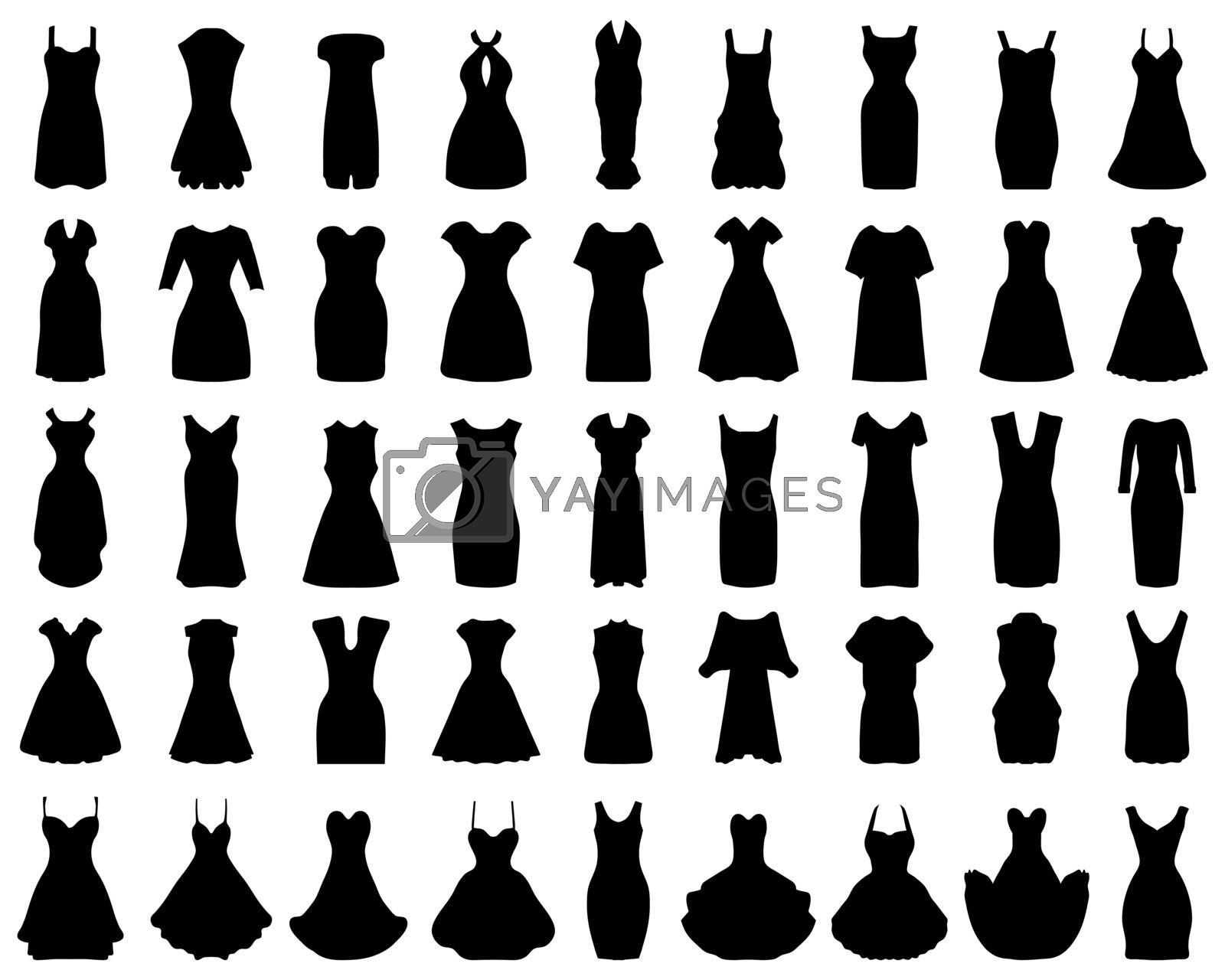 Black silhouettes of women's dresses on a white background