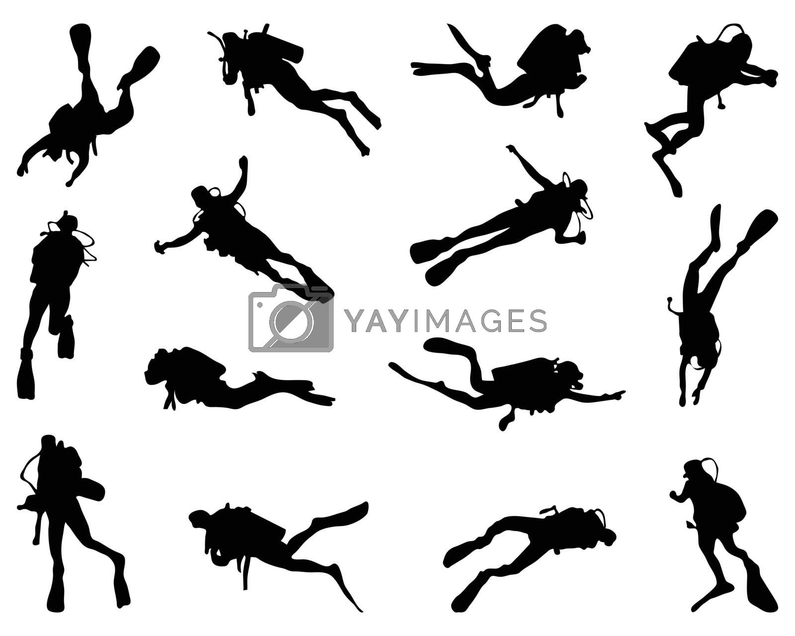 Black silhouette of diver on a white background
