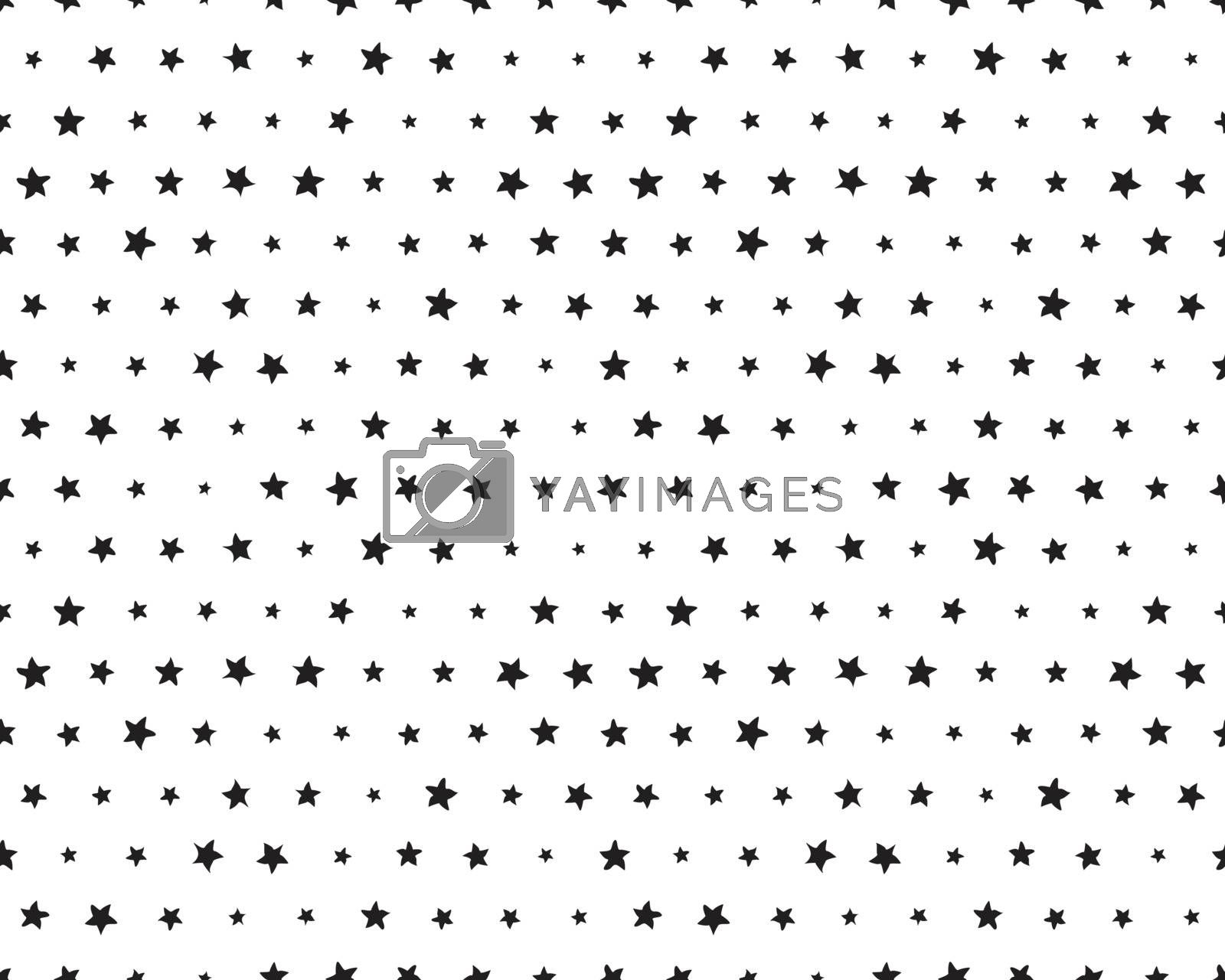 Seamless pattern with black stars of wavy lines on a white background
