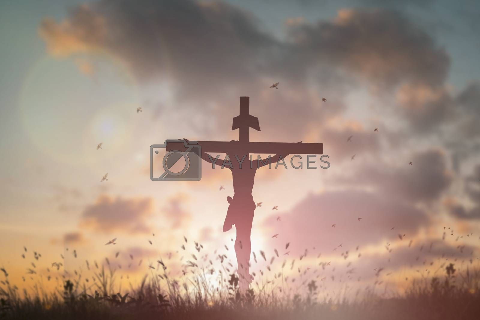 Silhouette Jesus christdeathon cross crucifixion on calvary hill in sunset good friday risen in easter day concept for Christianpraise forholy spirit religiousGod,Catholic prayingbackground.