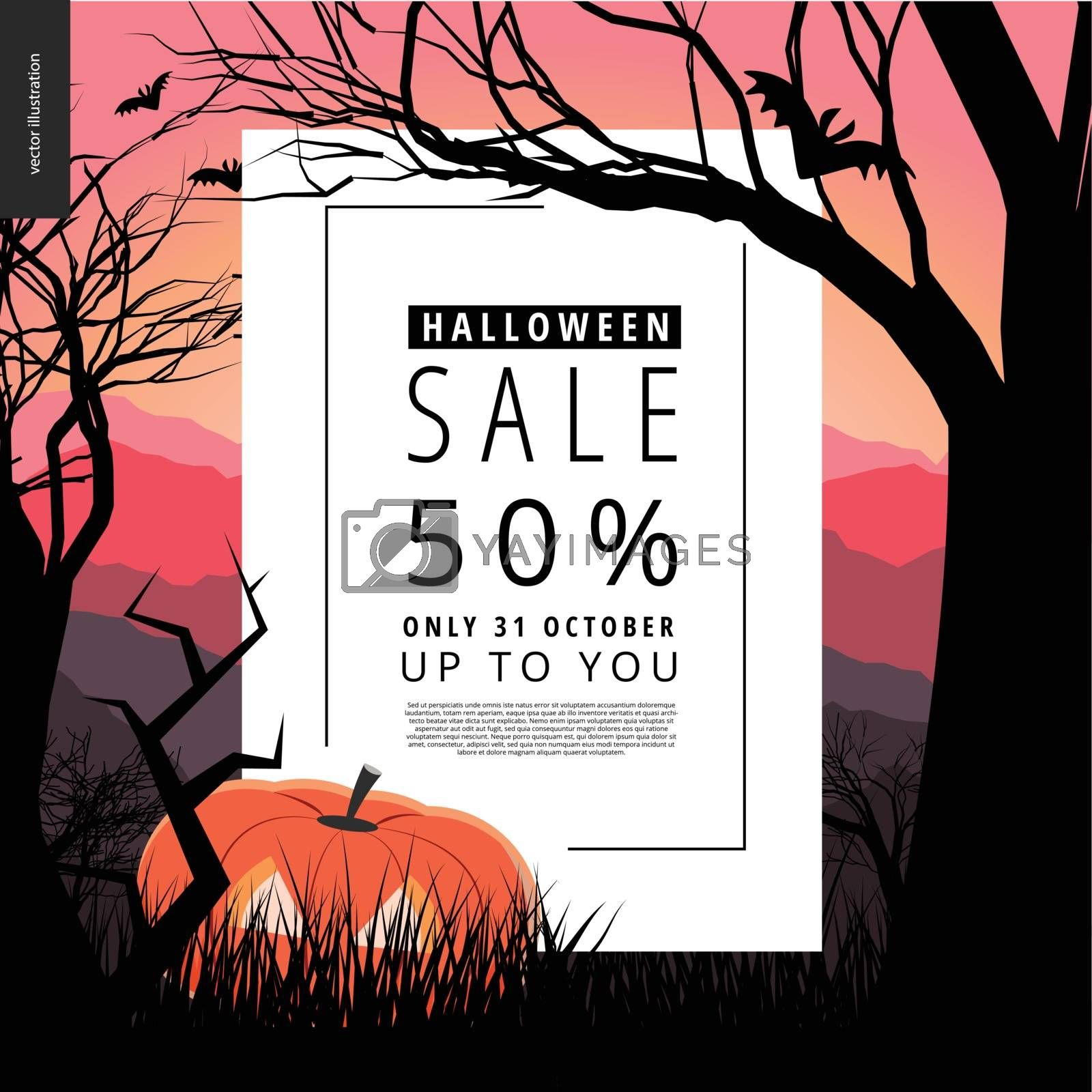 Halloween Sale notice illustrated poster. Vector cartoon illustration of a forest landscape with a pumpkin and flying bats, a black tree amd jack-o-lantern on foreground and sunset lighted hills.