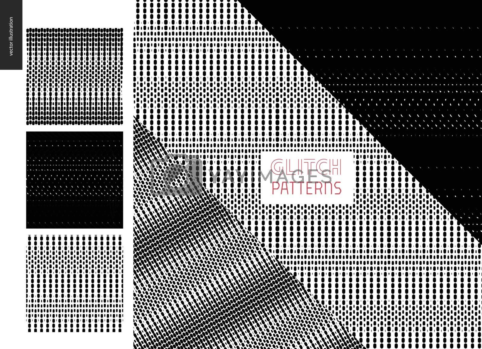Glitch patterns set. Three geometrical glitch seamless patterns with few examples of usage.