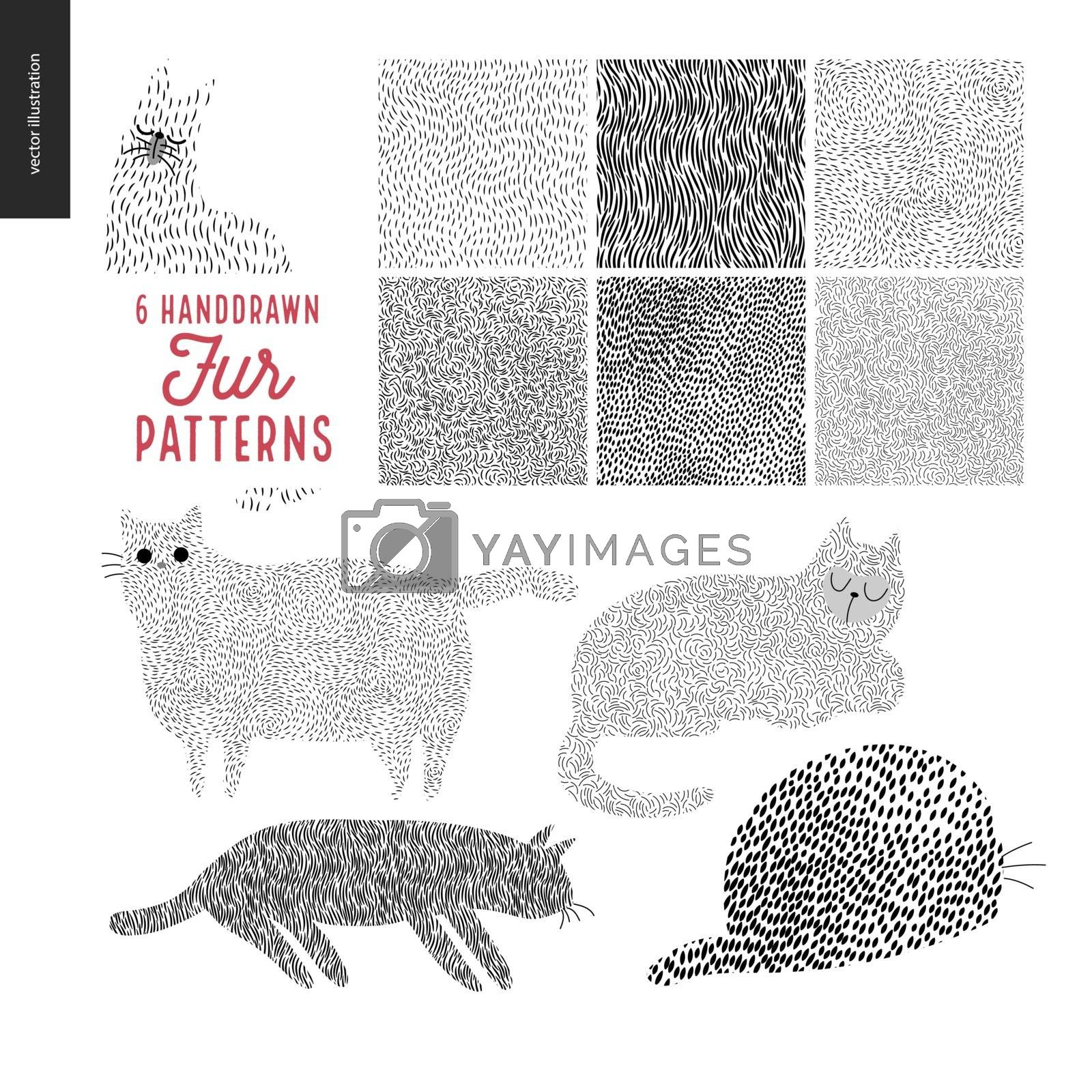 Handdrawn patterns with cats. Fur patterns with an usage example. Cats drawn with fur pattern sitting and standing in various poses.