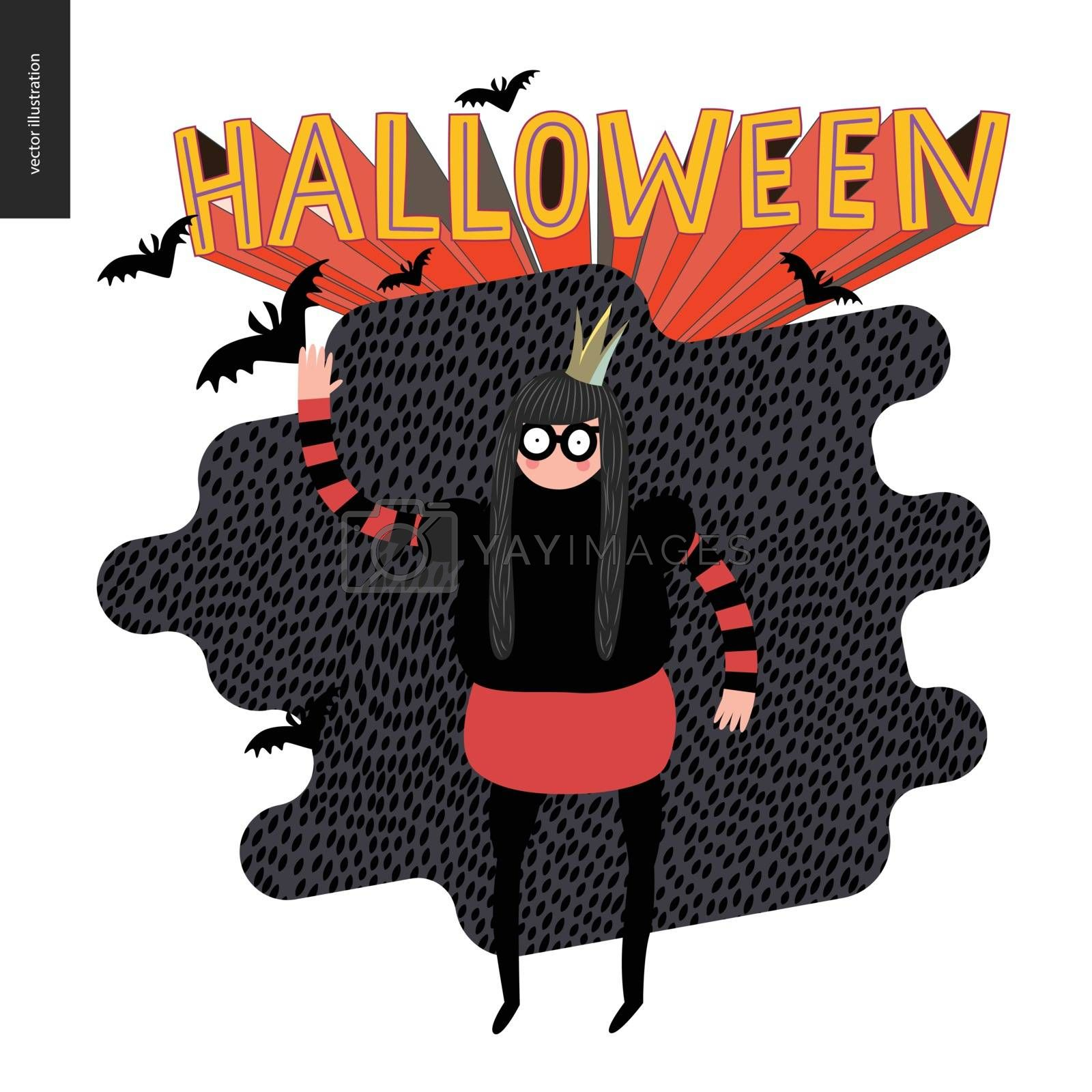 Halloween illustration with a waving girl. Vector cartoon illustration of a girl wearing a princess costume with a crown, and flying bats, with a lettering Halloween