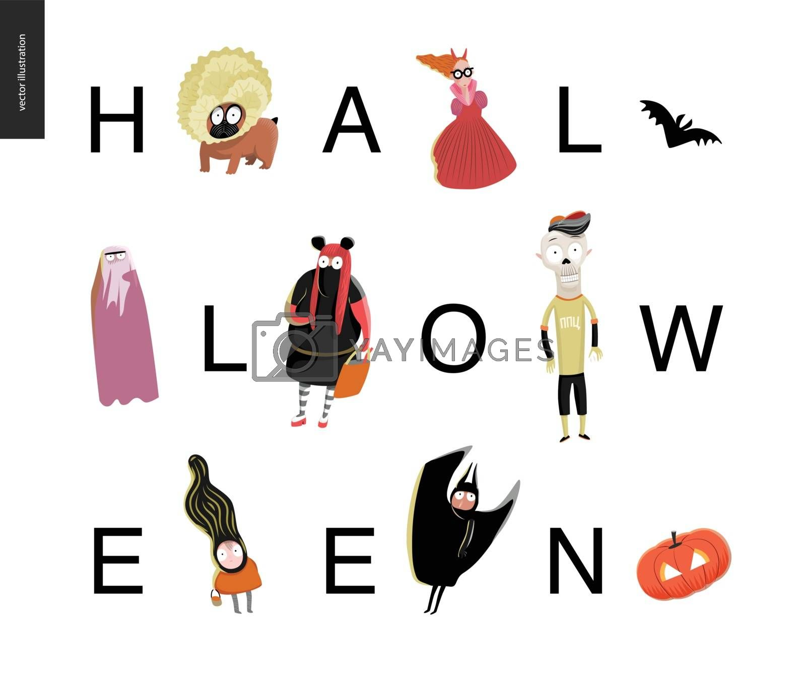 Halloween lettering card. Vector cartoon illustrated kids wearing Halloween costumes and a french bulldog, with letters composing a word Halloween. Composition placed on a white background