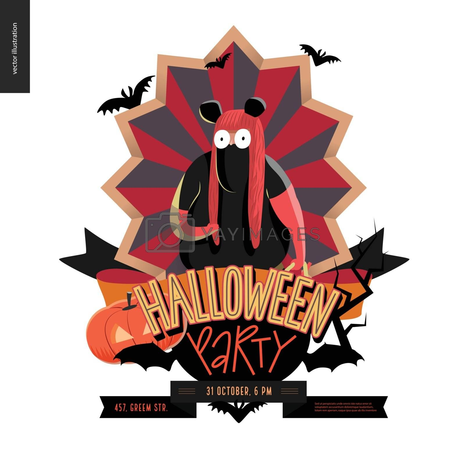 Halloween Party composed emblem invitation. Flat vectror cartoon illustrated design of a fat girl wearing Minnie Mouse costume, on striped shield, bats, pumpkin jack-o-lantern, ribbon, lettering