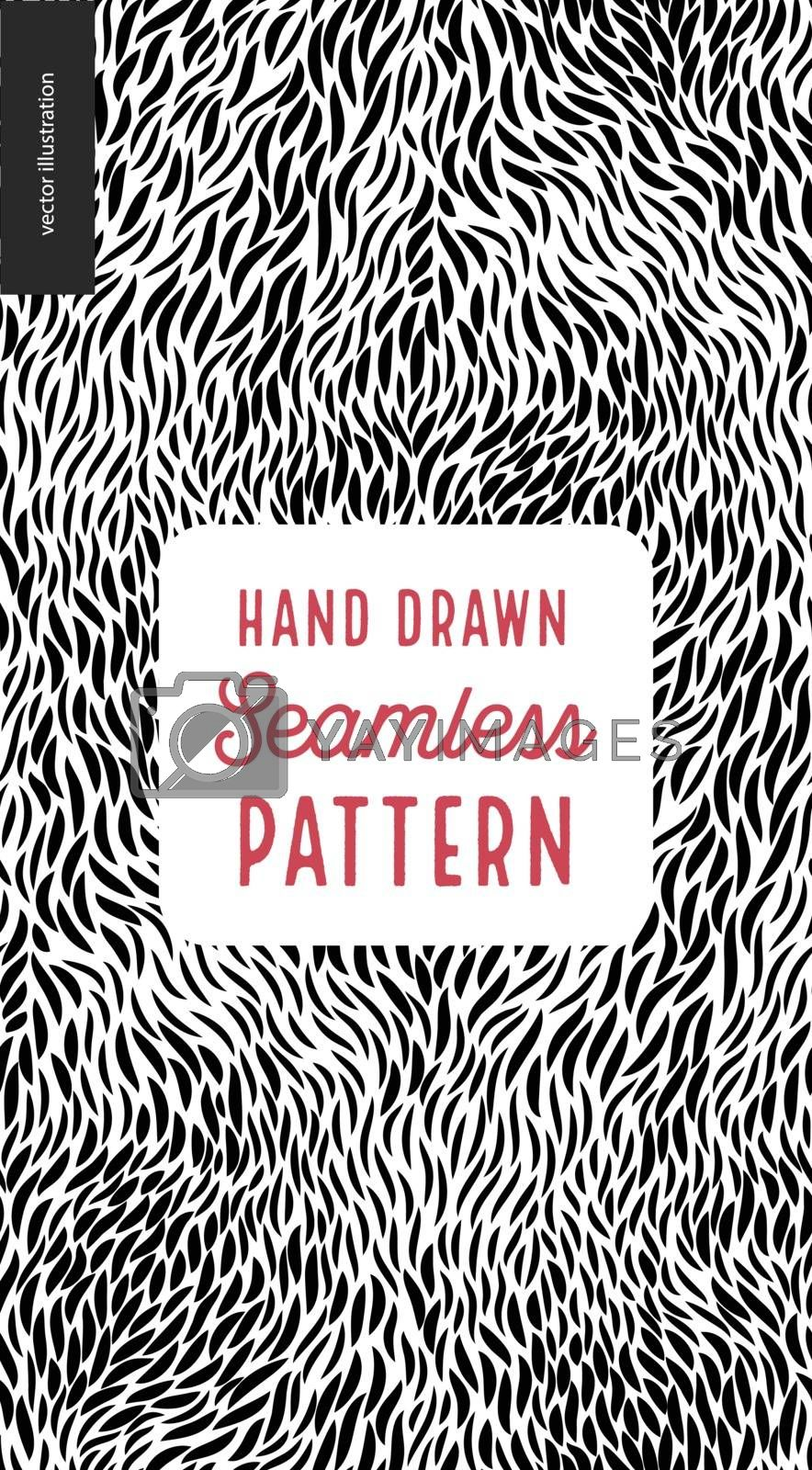 Hand drawn black and white pattern. Fur or leaves seamless black and white pattern