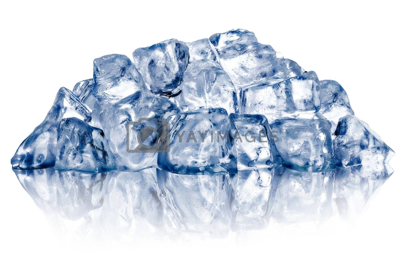 Heap of rough crushed ice, irregular shaped, dry, with fake reflection. Clipping paths for ice and reflection