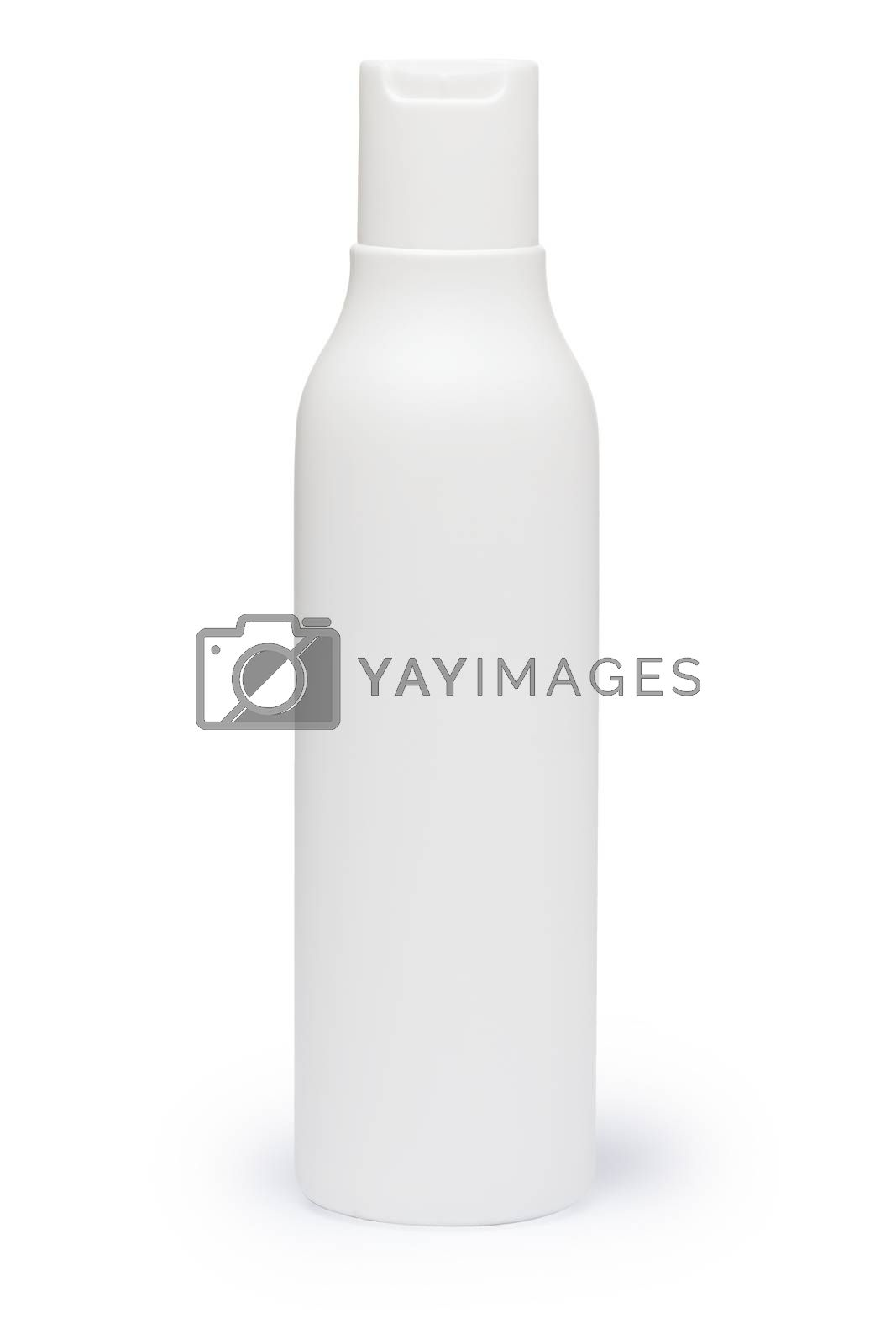 White plastic bottle with cap (mockup). Infinite depth of field, clipping paths for both bottle and its shadow