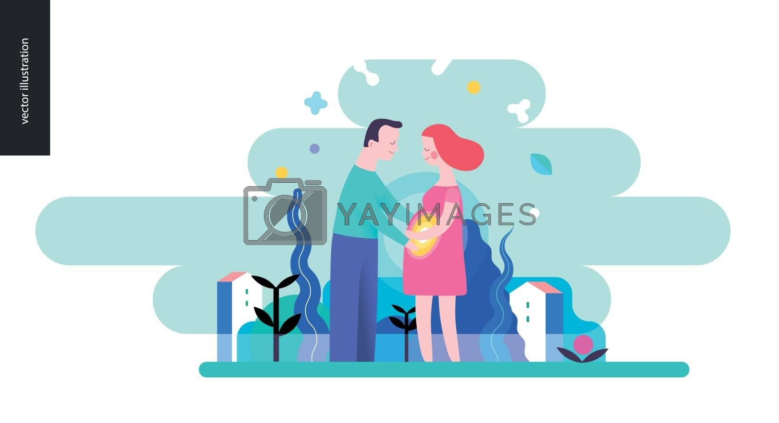 Reproduction - a couple expecting baby on a green landscape background