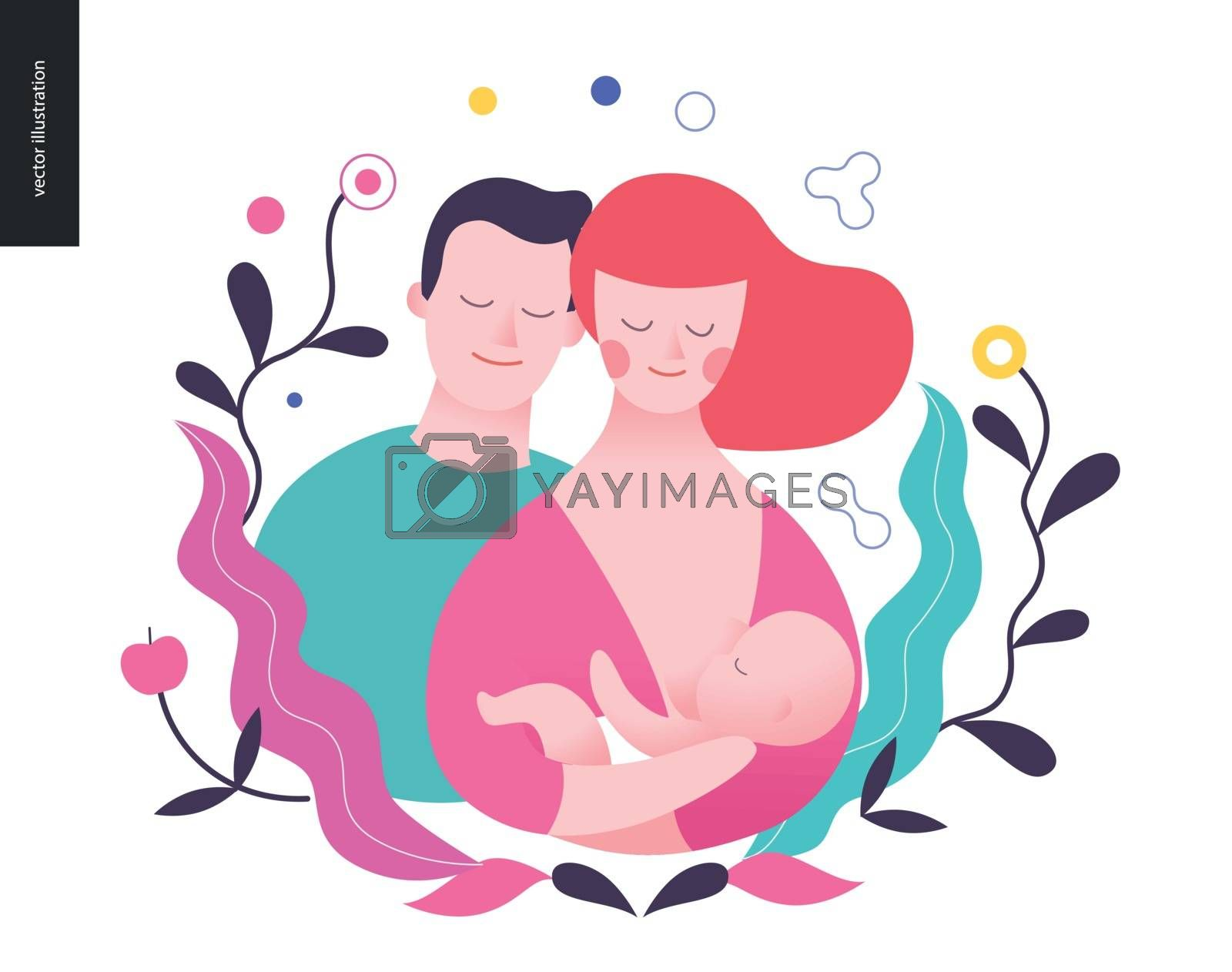 Reproduction - a breast feeding woman, baby and a man surrounded by plants
