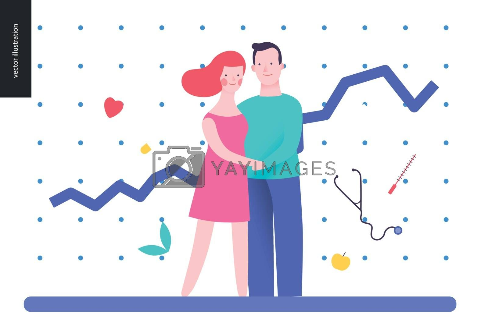 Reproduction - a couple planning a baby, on the white background, plot and medicine elements