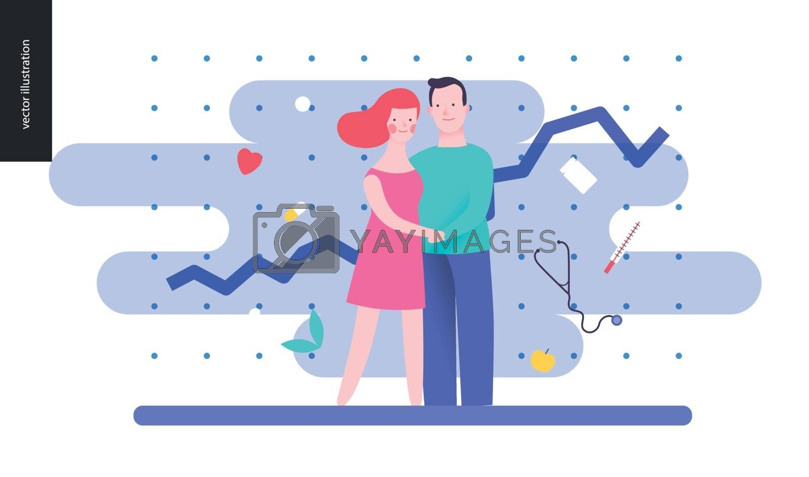 Reproduction - a couple planning a baby, on the blue background, plot and medicine elements