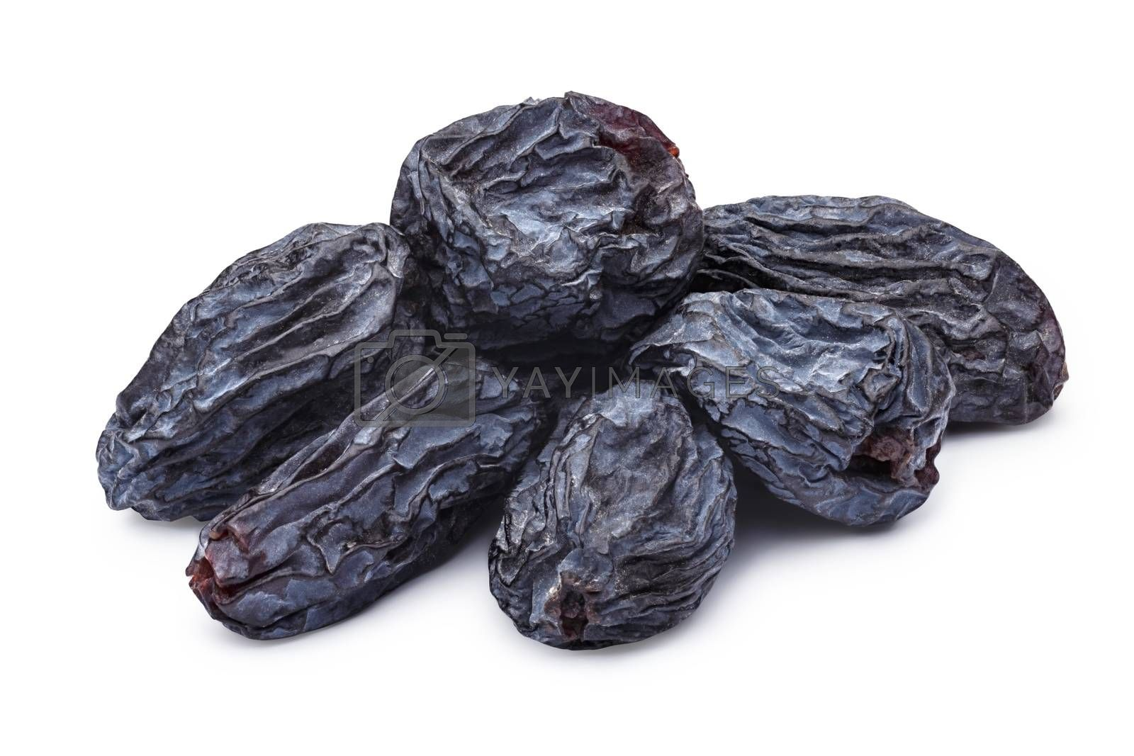Dark natural seedless raisins (Izabella, Zante Currant, Uzum). Sun-dried untreated grape.Clipping paths, infininte depth of field