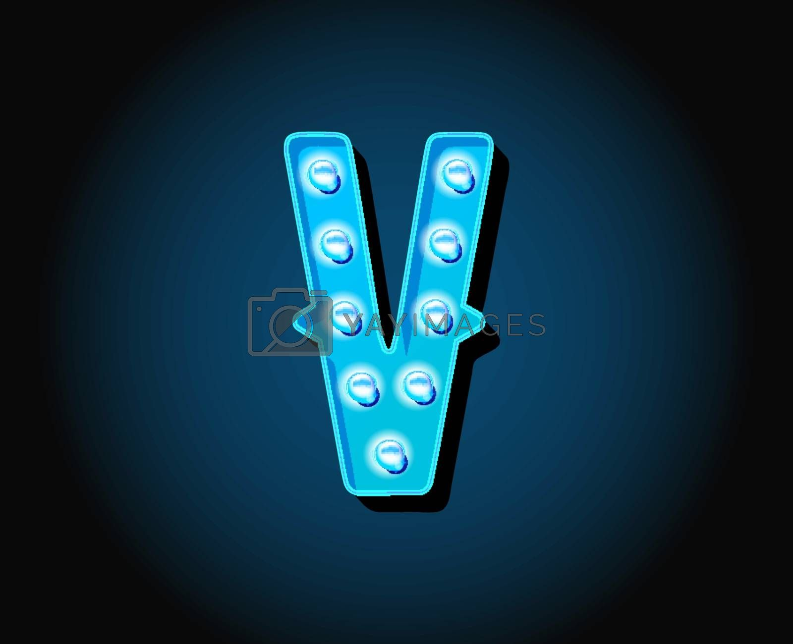 Casino or Broadway Signs style neon light bulb Alphabet Letter Character in Vector