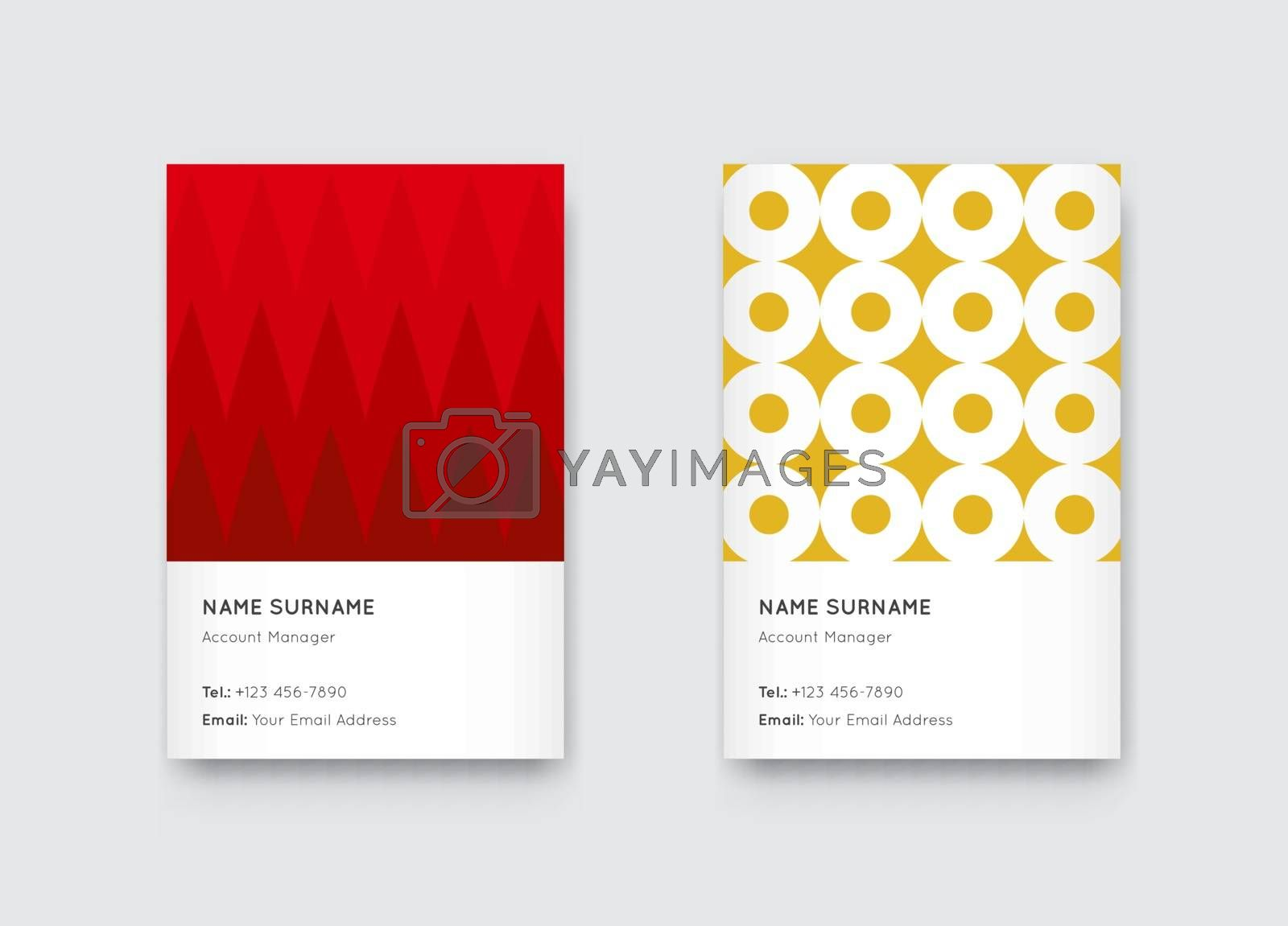 Vector Bright Trendy Vertical Business Card Set