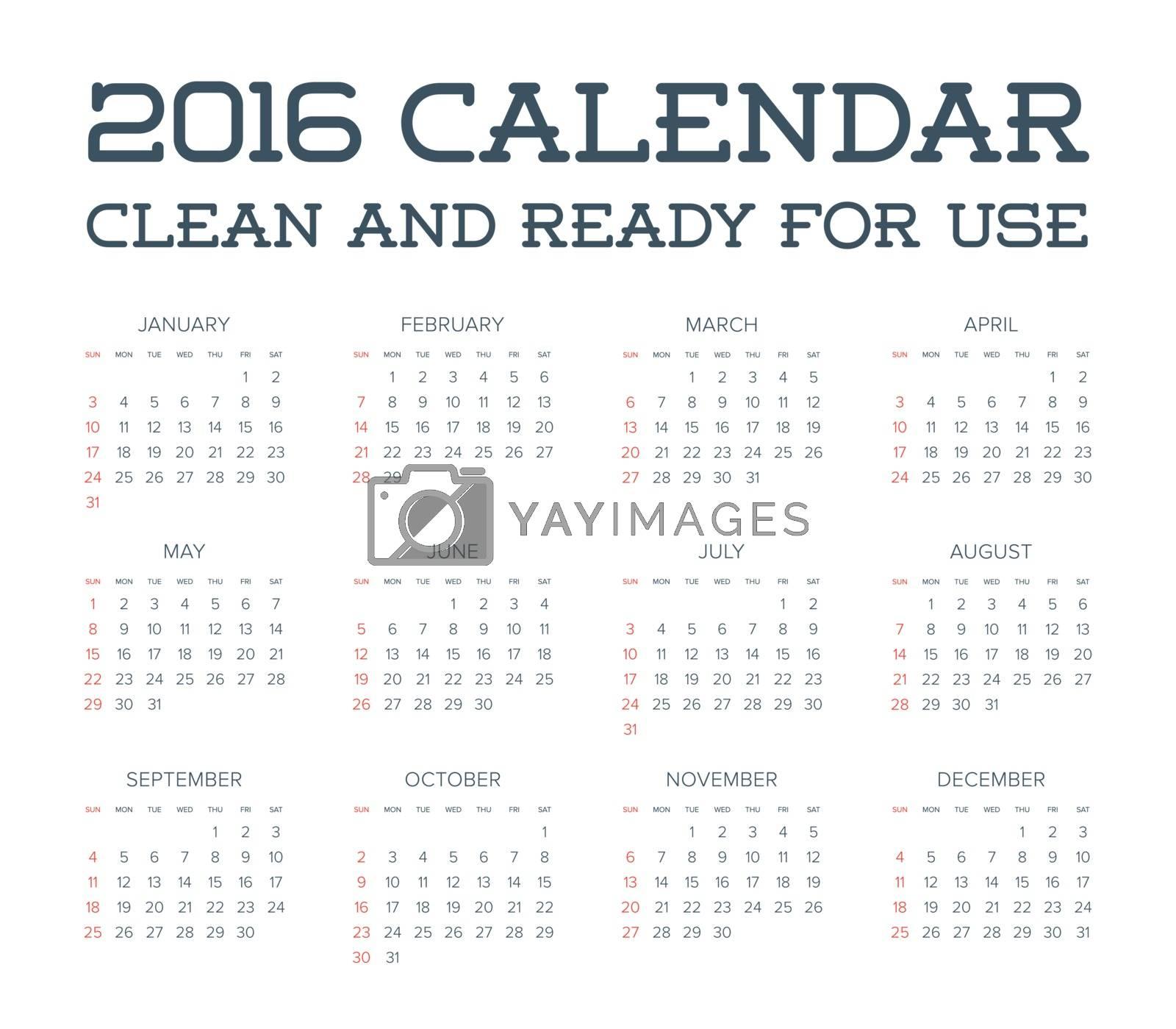 2016 Calendar. Abstract. Week Starts from Sunday. Vector illustration. Print Ready