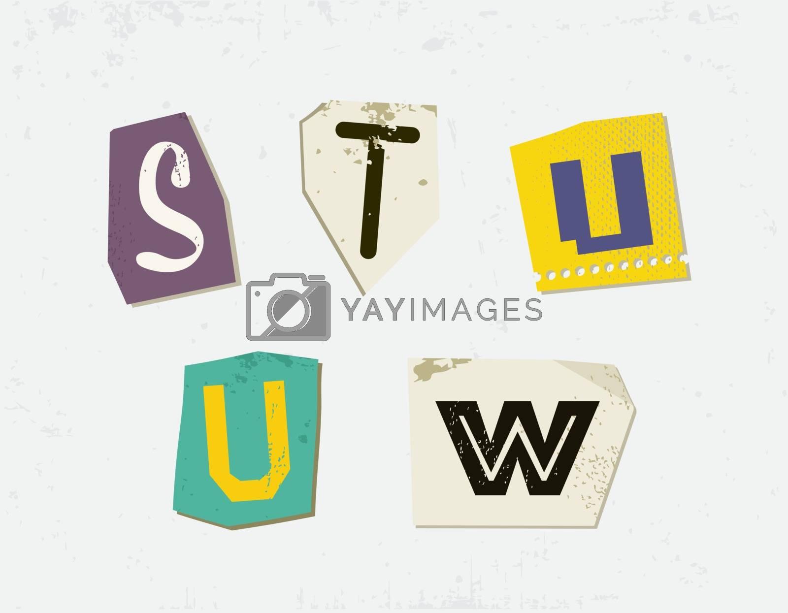 Colorful Newspaper Cut Letters Set