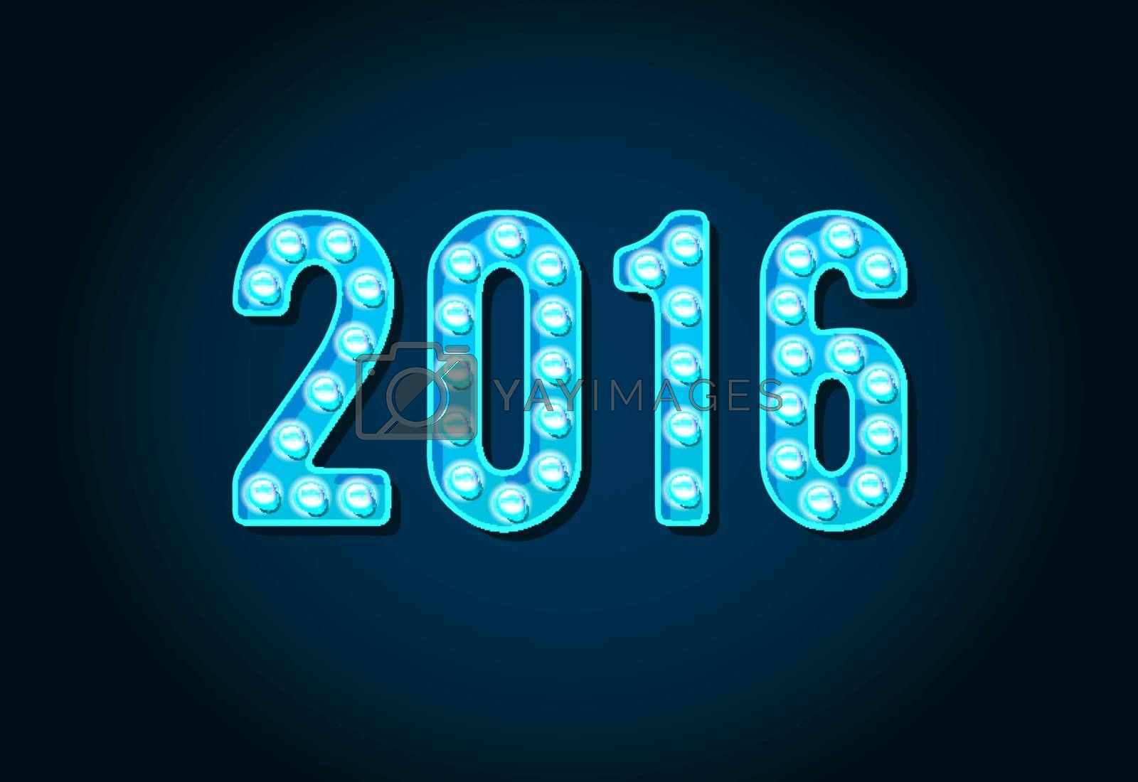 2016 Neon Casino or Broadway Signs style light bulb Digits or Numbers in Vector