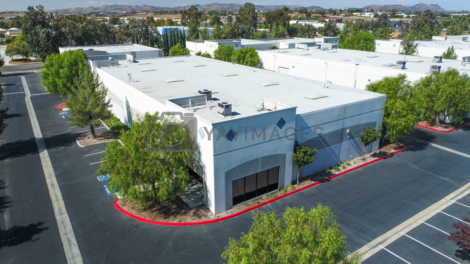 Aerial View Of Industrial Commerce Office Buildings.