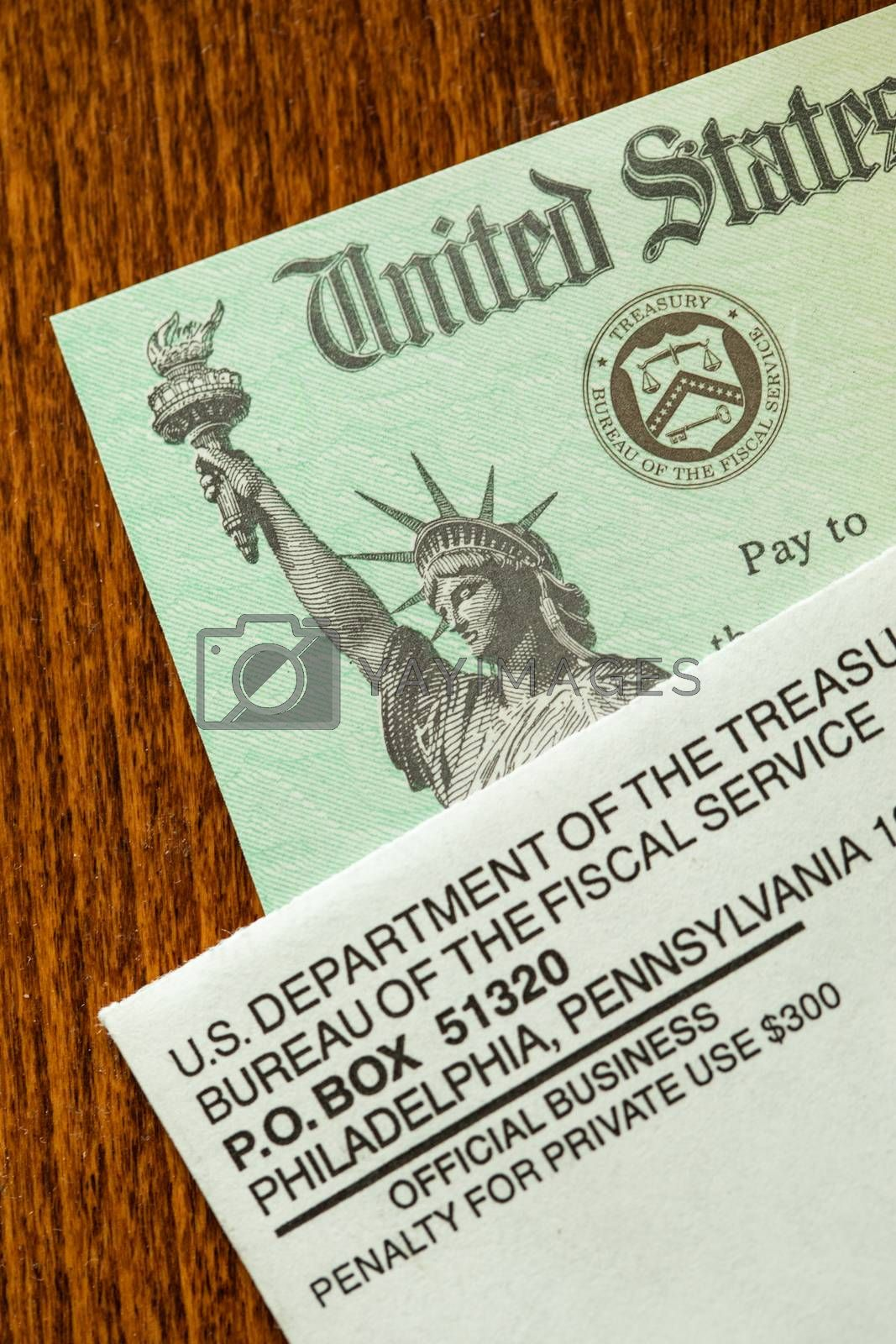 United States Internal Revenue Service, IRS, Check and Corner of Envelope.