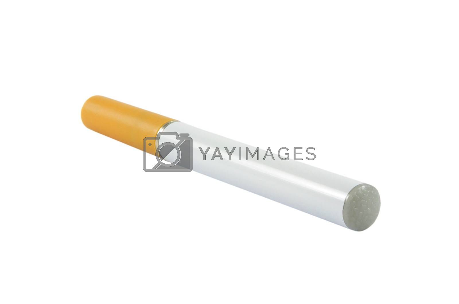 Closeup of electronic cigarette over white surface