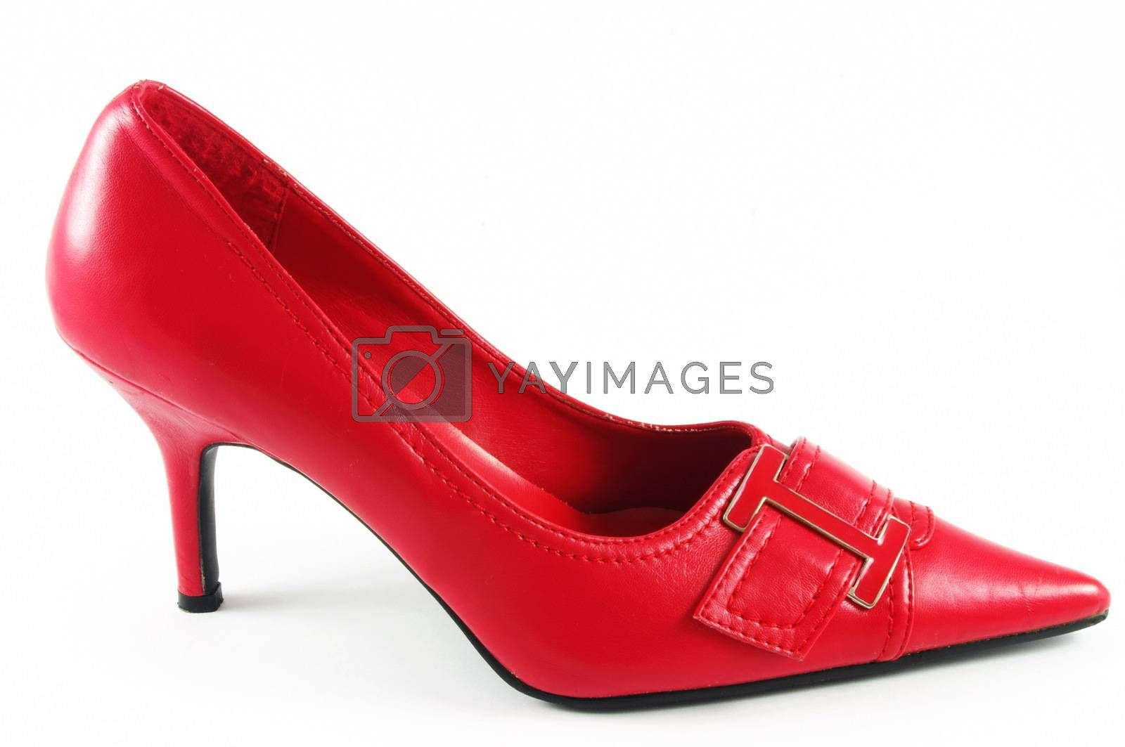 Red womens shoe on white