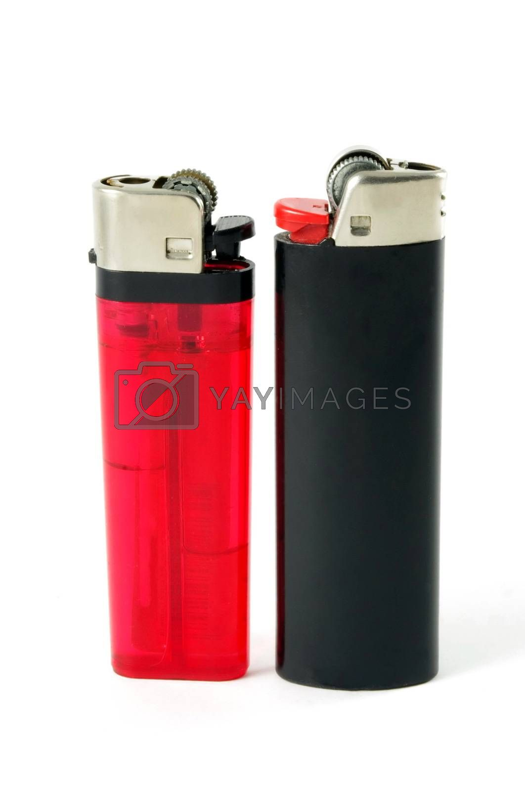 closeup of two different style lighters
