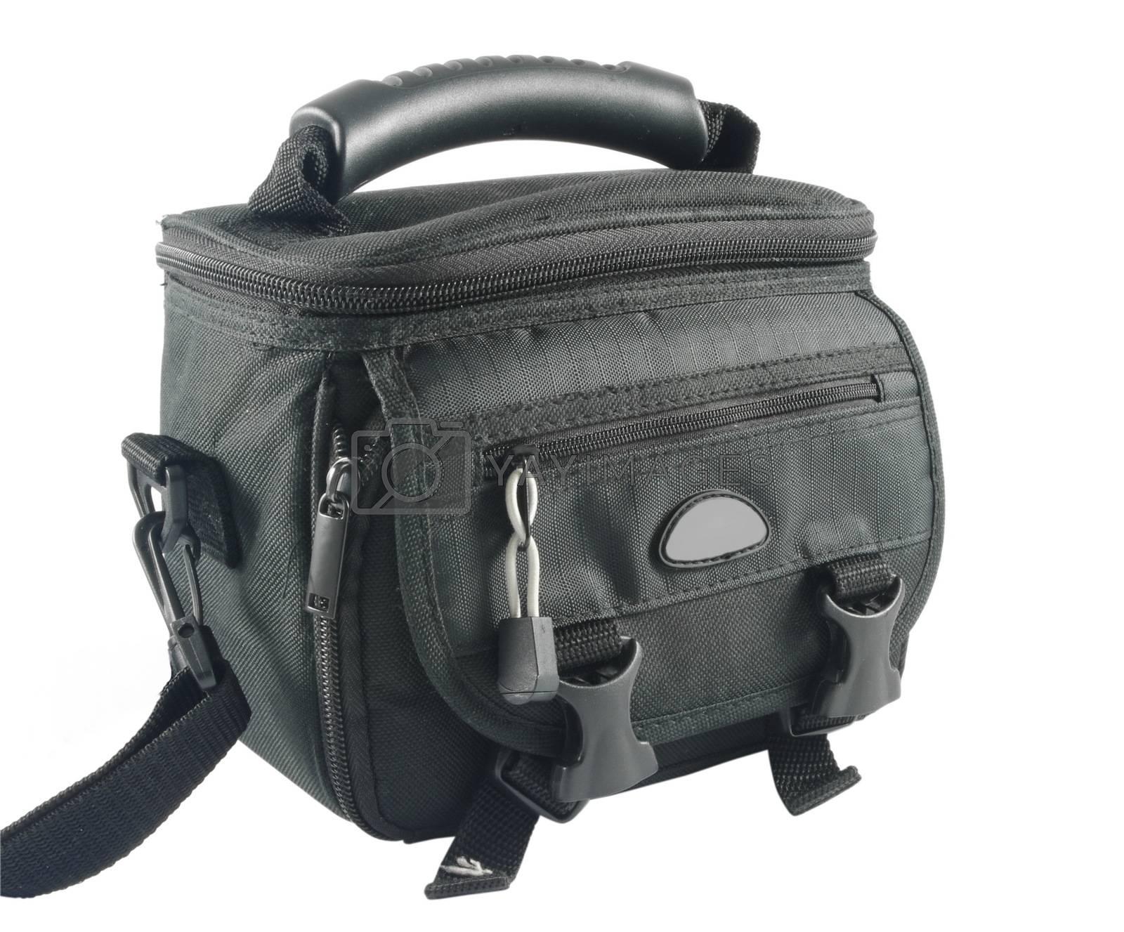 Closeup of black camera bag over white background