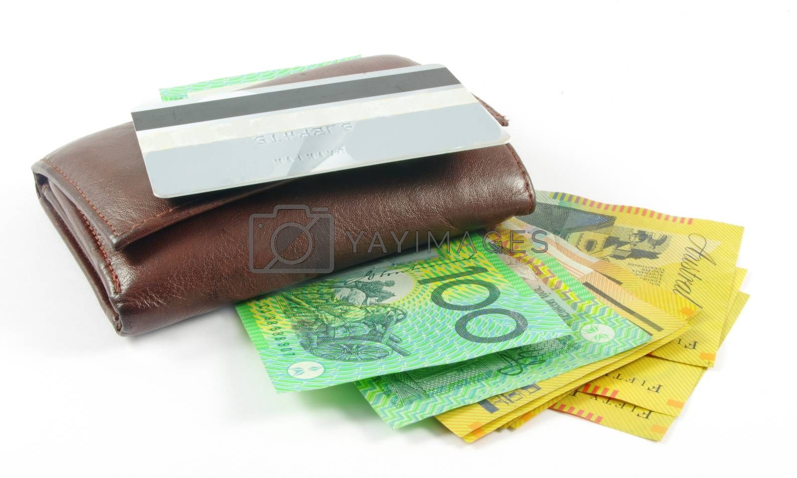 wallet with australian money and credit card over white