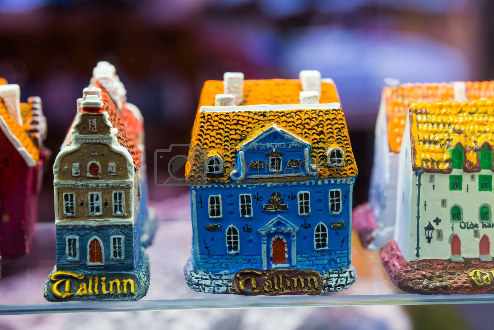 Colorful houses. View of traditional Tallinn Souvenirs miniature toys of the old town in the souvenir shop of the Old town, Estonia, Tallinn. Market