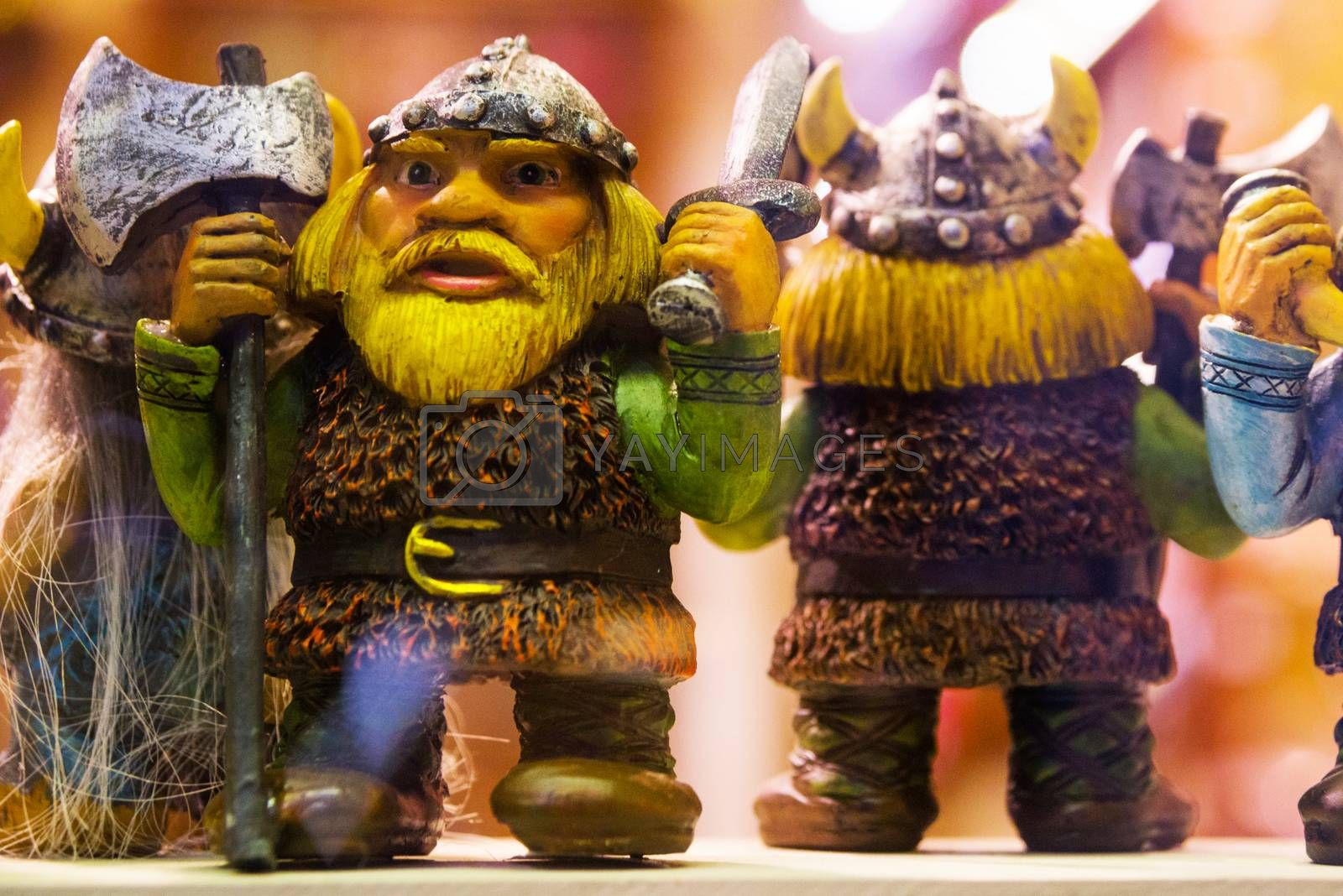 Funny little statues. View of traditional Tallinn Souvenirs miniature toys of the old town in the souvenir shop of the Old town, Estonia, Tallinn. Market