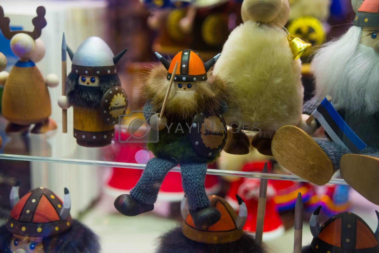 View of traditional Tallinn Souvenirs miniature toys of the old town in the souvenir shop of the Old town, Estonia, Tallinn.