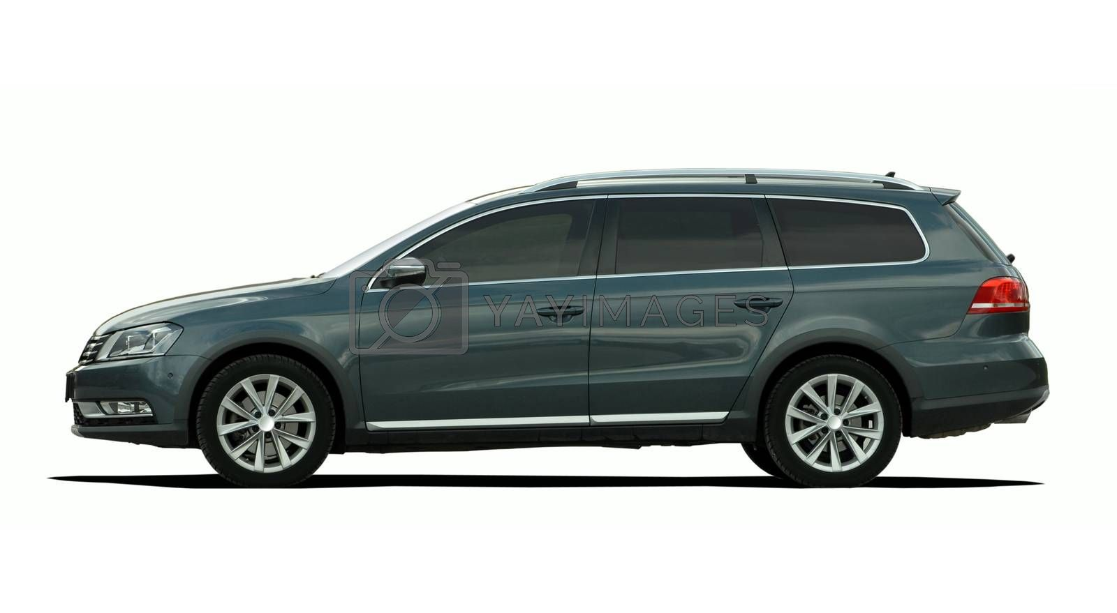 large gray station wagon isolated on white backgroun