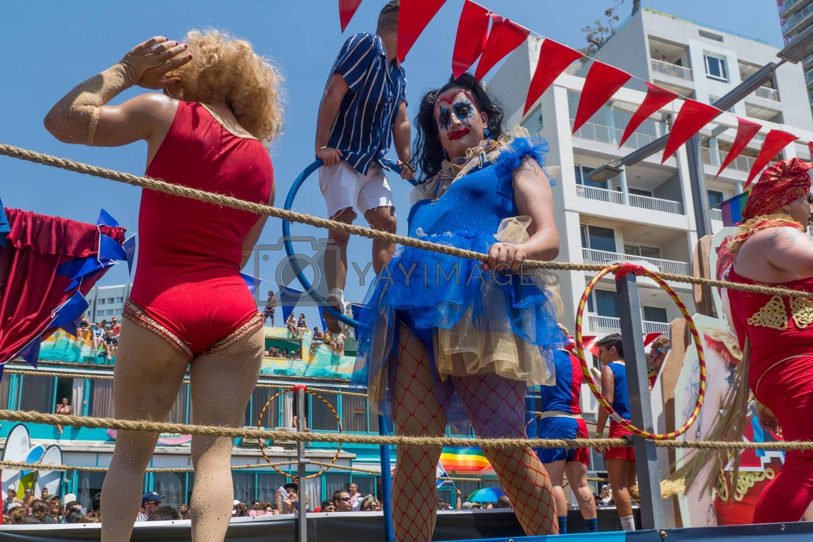 TEL-AVIV, ISRAEL - JUNE 08, 2018: Dancers of a truck entertain the crowd, and take part in the annual pride parade of the LGBT community, in Tel-Aviv, Israel