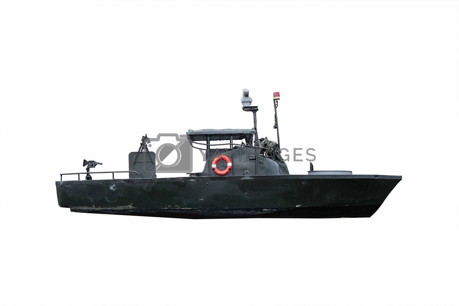 Black battle ship under the white background with clipping path