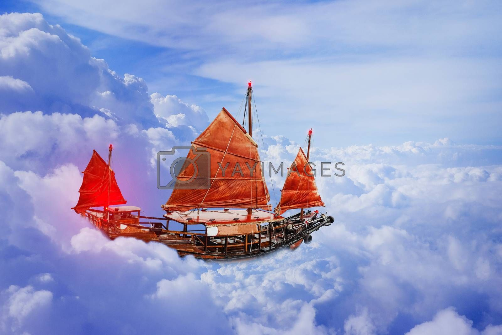 Sailboat red flag on blue sky heaven