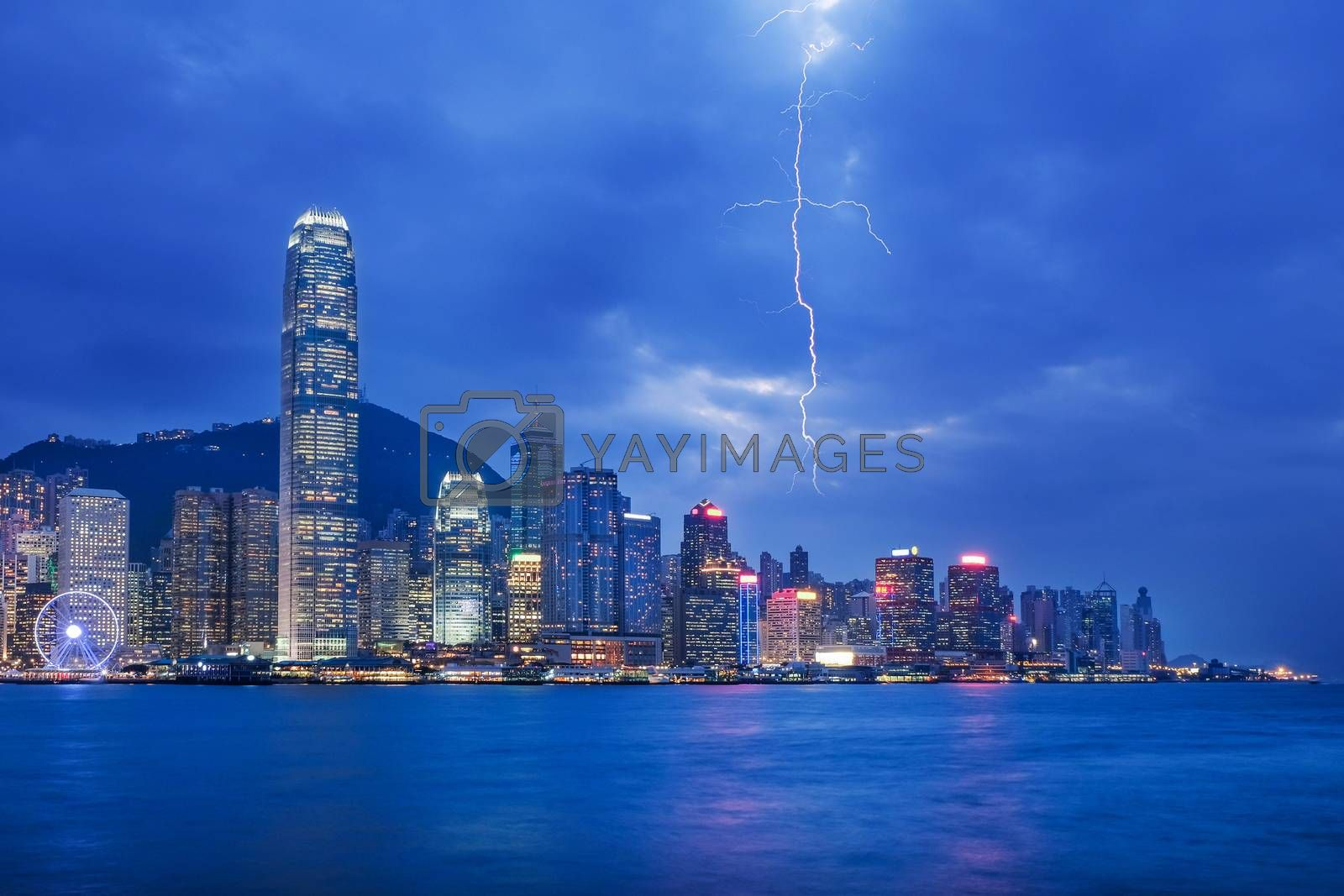 Thunderstorm HongKong cityscape at night , Hong kong city.