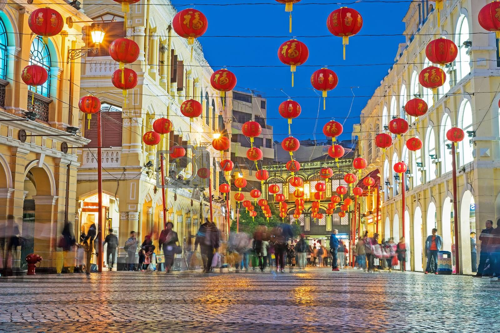 MACAU, MACAU - JANUARY 11,2016 - Senado Square nigth view of Macau. This square is the largest in Macau. Macau is a former Portuguese colony.